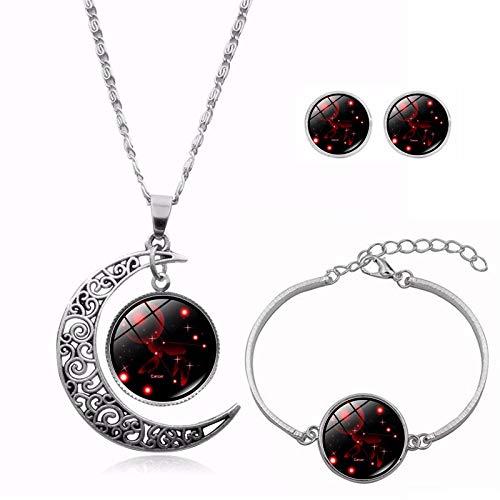 THTHT Fashion metalen halsketting oorbel armband vrouwen glas sieraden hol maan rond zilver sterrenbeeld tijd gem eenvoudige klassieke creatieve charme schattige overdreven geschenk Cancer.