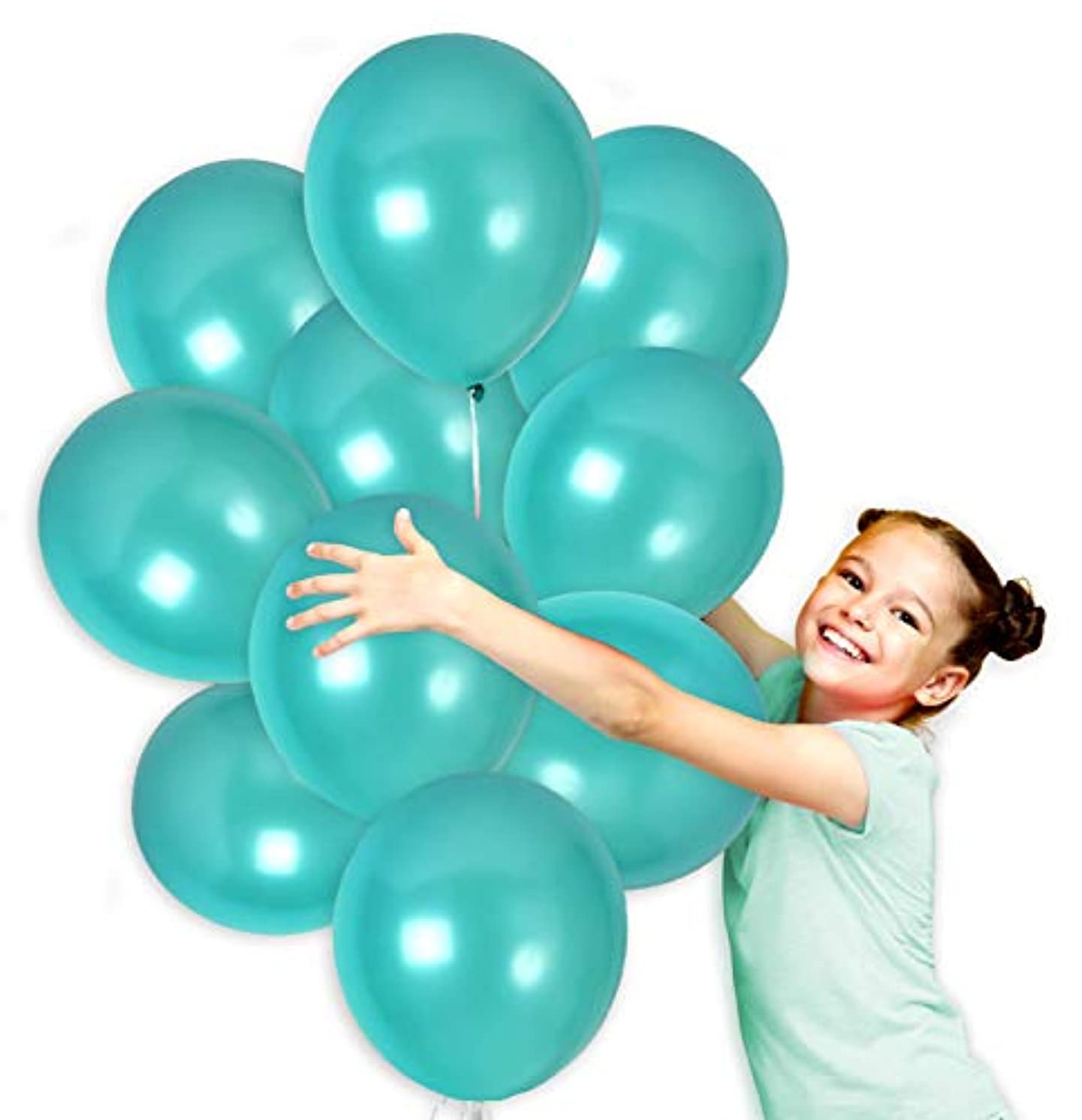 Turquoise Teal Metallic Balloons Set Bouquet in 12 Inch Thick Latex for Mermaid Birthday Baby Shower Wedding Bachelorette Party Decorations (36 Pack)
