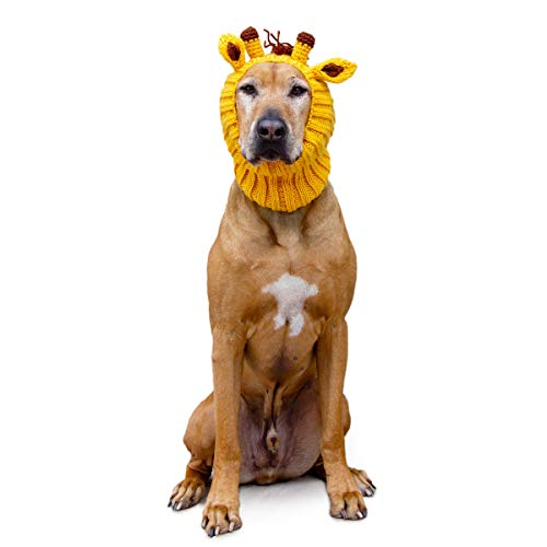 Zoo Snoods Giraffe Dog Costume - Neck and Ear Warmer Hood for Pets (Large)