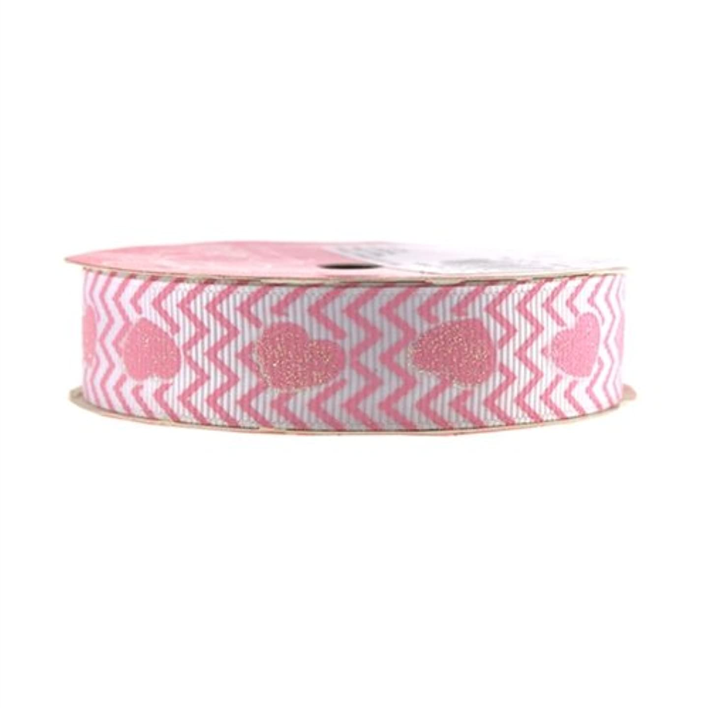 Homeford Firefly Imports Glitter Hearts Chevron Grosgrain Ribbon, 7/8-Inch, 4 Yards, Light Pink 7/8