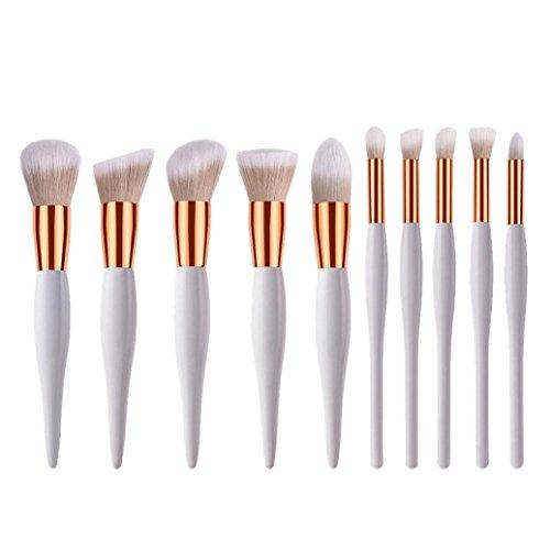 uBabamama Application de maquillage, 10 Lot Bush de beauté Outil de maquillage Kits cosmétiques brosses Brosse blanc