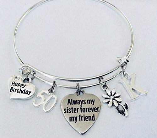 Birthday Gift for Sister 50th Birthday Always my Sister Forever My Friend Adjustable Expandable Silver Plated Bangle Bracelet One Size Fits All