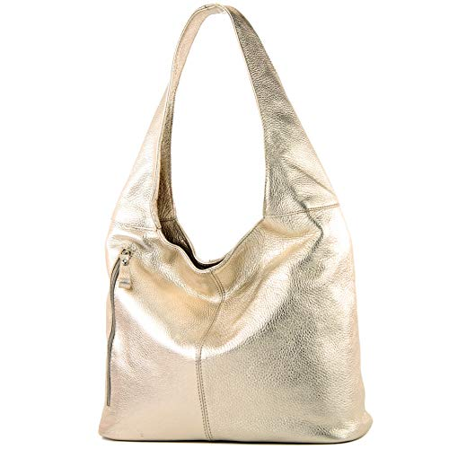 modamoda de - T166 - ital. Schultertasche Shopper aus Leder Groß, Farbe:Light Gold