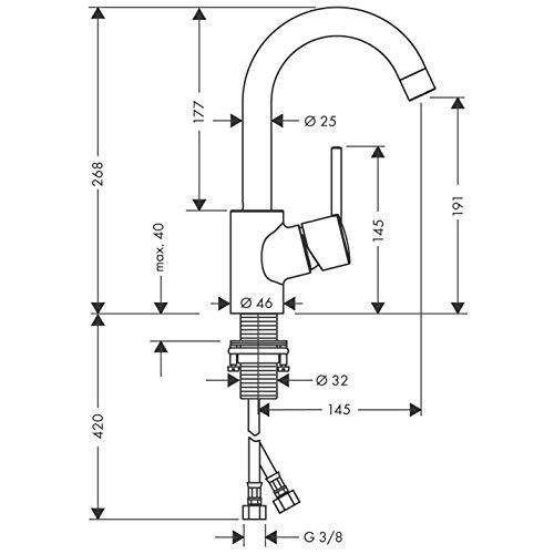 Hansgrohe – Einhebel-Waschtischarmatur, Ablaufgarnitur, Schwenkauslauf 120°, Chrom, Serie Talis S - 4
