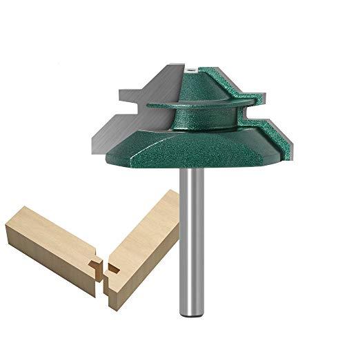 Bestgle 1/4 Zoll 45 Grad Lock Mitre Fräser für Holz, Router Bit, Bolzen, Cutter, zum Bohren, Holz, Elektrowerkzeuge, Router (grün)