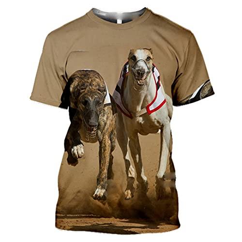 Män 3D-tryck cool hund djur t-shirt sommar vardaglig skjorta Harajuku hiphop streetwear toppar, 22, L