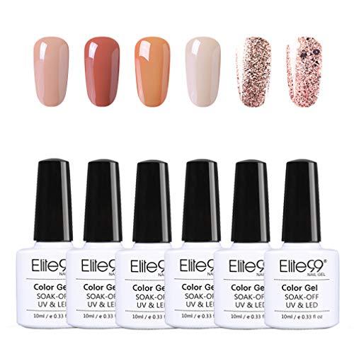 Elite99 Esmaltes Semipermanentes de Uñas en Gel UV LED, 6pcs Kit de Esmaltes de Uñas de Color Nude y Brillo Glitter 10ml 004
