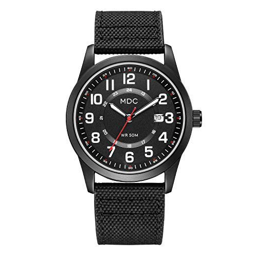Black Military Analog Wrist Watches for Men, Mens Army Field Tactical Sport Watch Work Watch, Waterproof Outdoor Casual Quartz Wristwatch - Imported Japanese Movement, 5ATM Waterproof