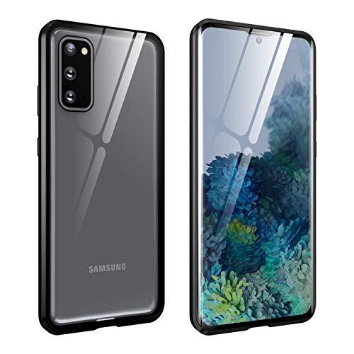 FHZXHY Carcasa para Samsung Galaxy A52 5G con cierre de seguridad transparente de doble cara HD 9H vidrio templado marco magnético metal carcasa protectora para Samsung Galaxy a52 5g 6.5' 2021-negro