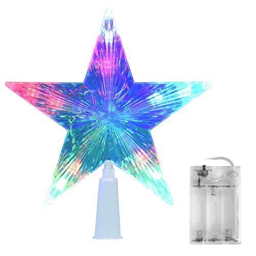 AsperX Weihnachtsbaum Stern Mehrfarbiger Christbaumspitze Weihnachtsstern Baum Stern Weihnachtsbaumspitze Leichter Batteriebetriebener Stern für Baumspitzeür Weihnachten(16cm)