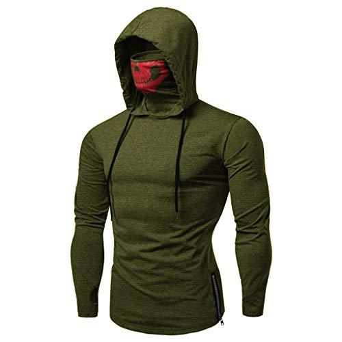 Sweat-Shirts Homme,FNKDOR Hommes 3D Graffiti Sweat à Capuche Arrêtez-Vous Chemise Manche Longue Encapuchonné Hauts Chemisier Blouse Tops (Armée Verte,XL)