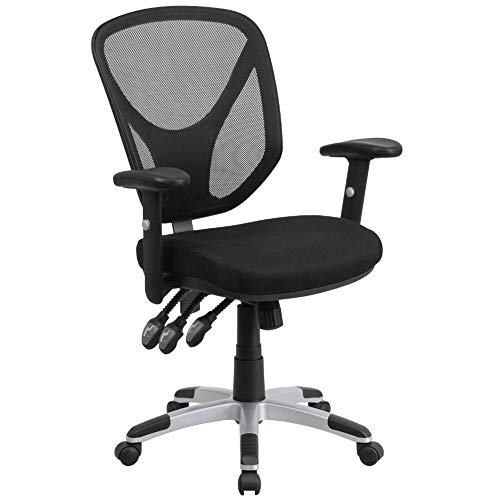 Flash Furniture Mid-Back Black Mesh Multifunction Swivel Ergonomic Task Office Chair with Adjustable Arms, BIFMA Certified