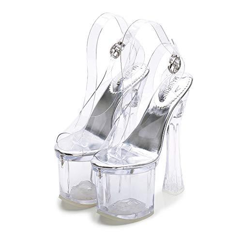 CYwinterB Sandalen transparent Plateau Plattform Pumpe Sexy Frauen High Heels Peeping Zehen Kleid Frauen Schuhe Knöchel Schnalle Klobige Ferse Keilschuhe-Transparent||40