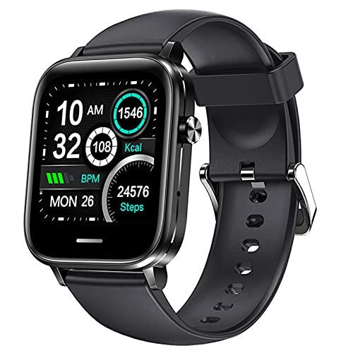 APCHY Reloj Inteligente Smart Watch,Fitness Tracker of Bluetooth Llamada A La Velocidad Cardíaca Presión Arterial Sangre Oxygen ECG Monitoreo Y Temperatura Corporal Bluetooth Music Sports,Negro