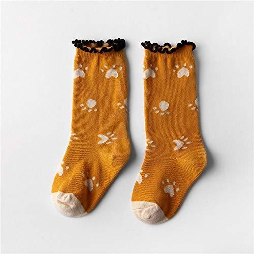 ROUNDER 3 pairs of graffiti tube socks children piled socks with wooden ears cartoon cute strawberry animal socks 3-5 years old-Turmeric footprints