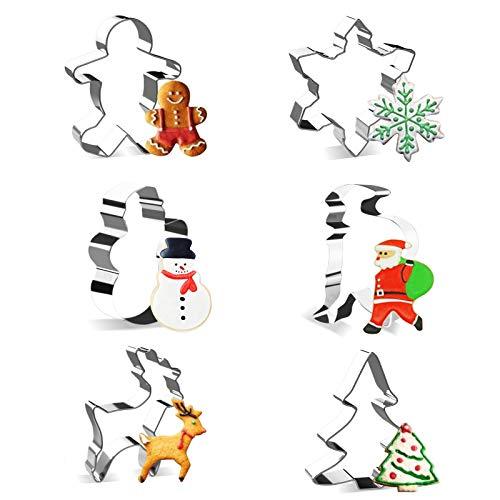 Olkoy Set di formine per Biscotti di Natale in 3D - Formine Biscotti in Acciaio Inox, Pupazzo di Neve, Albero di Natale, Fiocco di Neve, Omino di Marzapane e Babbo Natale (Argento)