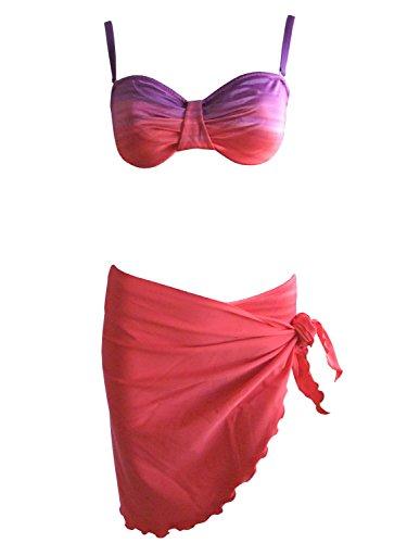 Felina Bandeau-Bügel-Bikini Plus Pareo rot/violett, Gr. 40 B-Cup