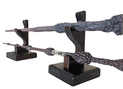 Nangopop Wizard Wand Stand Display - 2 Tiered Wood Magic Wand Holder for Table Display, Holds Two Wands