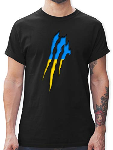 Länder - Ukraine Krallenspuren - M - Schwarz - Ukraine Trikot - L190 - Tshirt Herren und Männer T-Shirts