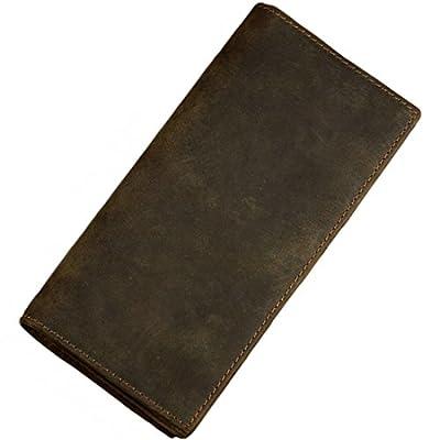 Itslife Men's RFID BLOCKING Vintage Look Genuine Leather Long Bifold Wallet Rfid Checkbook Wallets