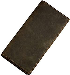 Itslife Men's RFID BLOCKING Vintage Look Genuine Leather Long Bifold Wallet Rfid Checkbook Wallets