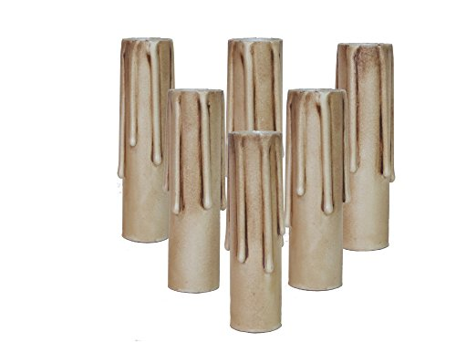Lighthouse Industries Set of 6 pc.4 Inch Tall Antique Long Drip Hybrid Resin No Melt Oversized Candelabra Base 7/8' Inner Diameter Faux Beeswax Candle Covers, Socket Sleeves 60 watts