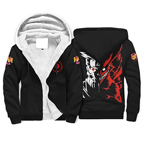 Chhome Youth Adult Sherpa Lined Hoodie Full-Zip Hooded Sweatshirt Naruto Nine-Tailed Fox 3D Graphic Outwear White 3XL