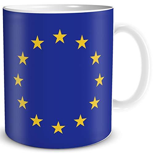 TRIOSK Tasse Flagge Europa Länder Flaggen Geschenk EU Souvenir Europäische Union für Reiselustige Frauen Männer Arbeit Büro Weltenbummler