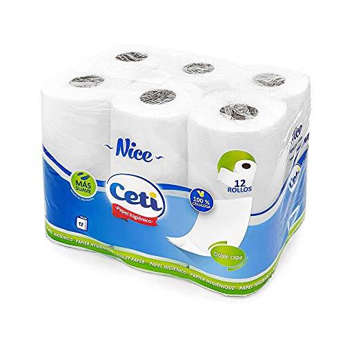 Papel Higiénico de 2 Capas Acolchado, Envío URGENTE desde España, Papel Ecológico Certificado con Gran Suavidad (12 Rollos)