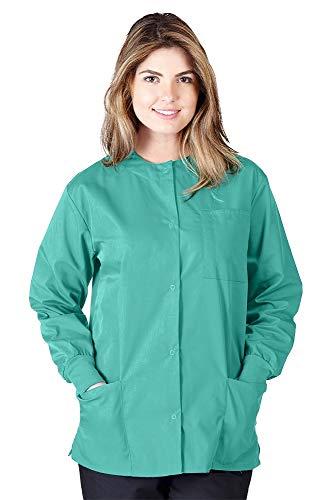 Natural Uniforms Women's Warm Up Jacket Medical Scrub Jacket (XS to 5XL) (Large, Surgical Green)