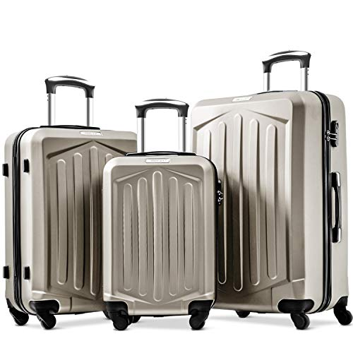 Super Lightweight ABS Hard Shell Travel 4 Spinner Wheels Suitcase Cabin Hand Luggage Free 3-Year Warranty