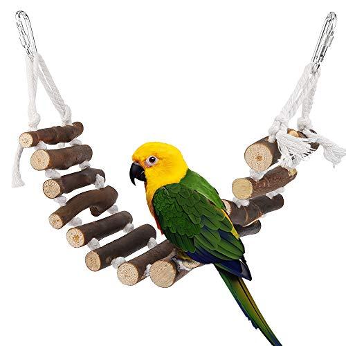Vegena Vogelspielzeug, Vögel Holzleiter Spielzeug mit Landeplatz Vogelkäfig Zubehör für Wellensittich Papageien Graupapageien Nymphensittiche Finken Sittiche Kakadus Aras