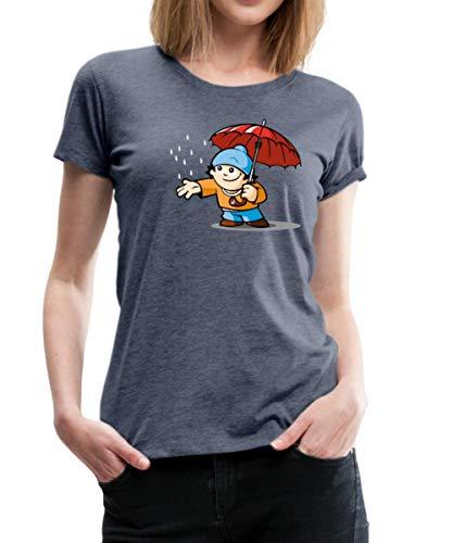 Mainzelmännchen Conni Mit Regenschirm Frauen Premium T-Shirt, S, Grau meliert