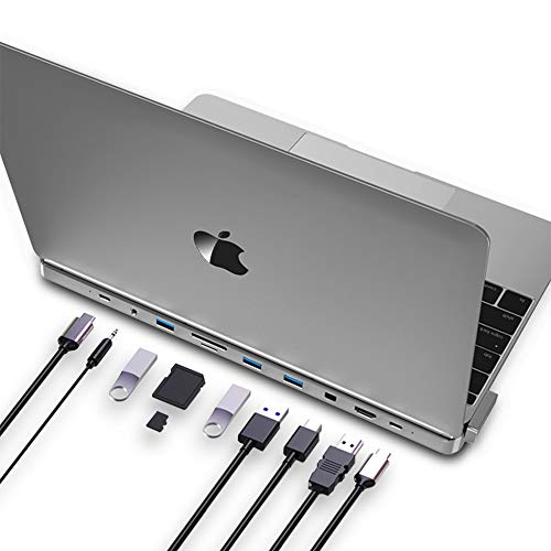 USB C Hub, 10-in-2 Type C Adapter for MacBook Pro 16 inch (2017-2020) with 4K HDMI/miniDP, 3 USB 3.0 Ports, SD/TF Cards Reader, 100W Power Delivery Thunderbolt 3 Dock, Space Grey