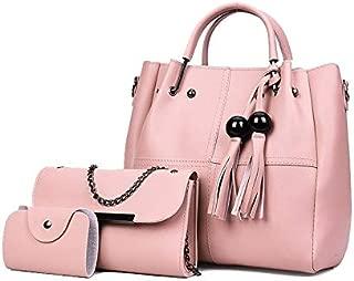 WTYD Single Shoulder Bag 3 in 1 Casual PU Shoulder Bag Ladies Handbag Messenger Bag with Bear Tassel (Color : White)