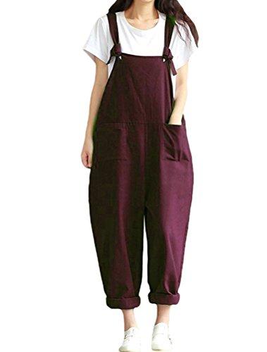 Mallimoda Damen Latzhose Hosenträger Spielanzug Harem Jumpsuit Overalls Casual Hosen mit Taschen Dunkelrot M/EU 40