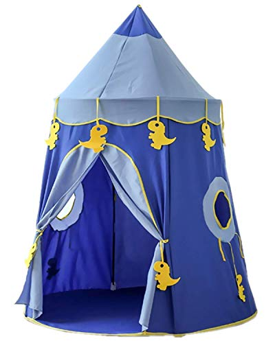 Floving 子供用プレイテント KidsTent 可愛いキッズテント tentアウトドア適用 コンパクト式 プレーテントハウス キャリーバッグ付き 携帯便利 設置簡単 秘密基地 おままごと 素敵なプレゼント 知育玩具MGB002 (ブルー)
