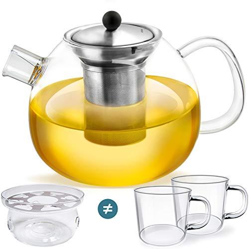 smartpeas Teekanne aus Glas – 1200 ml Fassungsvolumen – herausnehmbarer Edelstahlfilter & Ausguss-Filter – hitzebeständiges Borosilikatglas +Plus: Stövchen oder 2X Tassen
