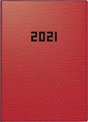 BRUNNEN 1073633011 Taschenkalender Modell 736, 1 Seite = 1 Tag, 10 x 14 cm, Kunstleder-Einband rot, Kalendarium 2021