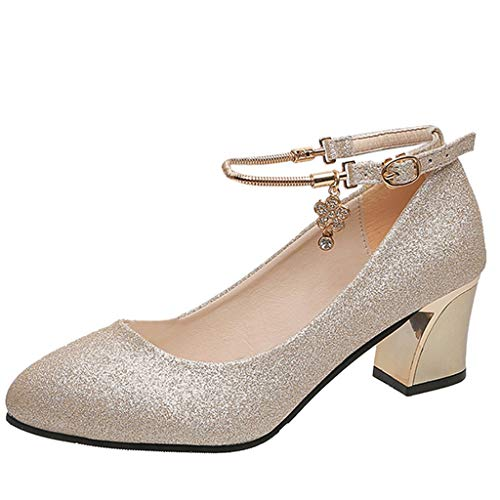 Oksea Damen Suede Pumps Runde Zehen Hoch Absatz Schnalle Pumps Glitter Silber Party Tanzschuhe Damen Brautschuhe für Büro Arbeit Nacht Kleid
