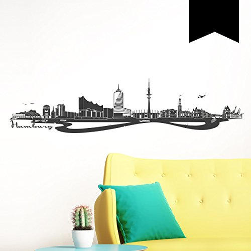 WANDKINGS Wandtattoo Skyline Hamburg (mit Sehenswürdigkeiten und Wahrzeichen der Stadt) 150 x 35 cm schwarz - erhältlich in 33 Farben
