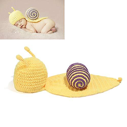 Yissma - Disfraz de Caracol Amarillo para recién Nacidos y niñas, Punto de Ganchillo, Conjunto de Accesorios para fotografía