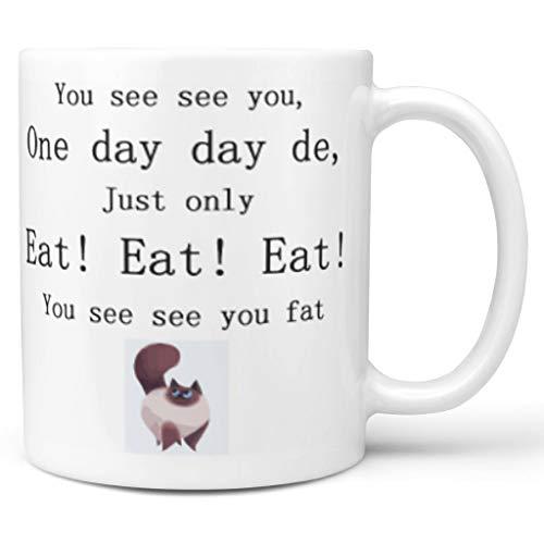 O2ECH-8 Fette Puppe Katze Mischen Tee Becher mit Griff Porzellan Personal Mug - Lustiges Chinglish Chanukka Geschenke, für Tochter verwenden 11 Unze White 330ml