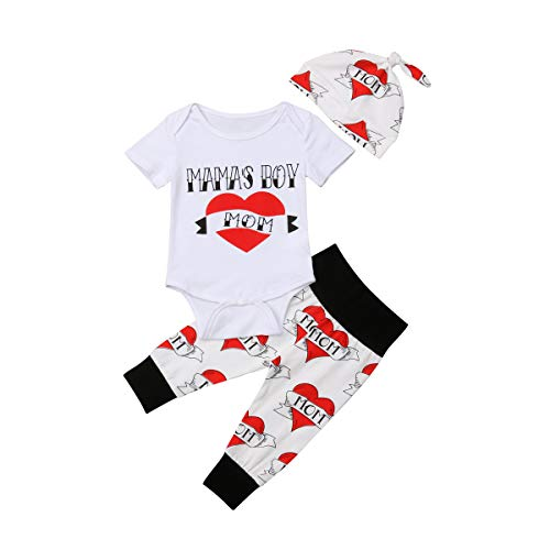 Newborn Infant Toddler Baby Boys 3Pcs Outfit Mama's Boy Letter Printed Romper Bodysuit Heart Pants...