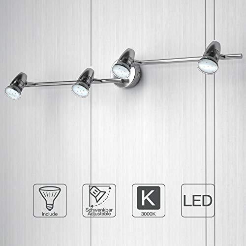 NEUE DAWN Lámpara de techo con 4 focos LED GU10, focos ajustables y giratorios con 4 Bombillas para interiores, dormitorio, sala de estar, cocina, pasillo, oficina, Plafón con Focos substituibles