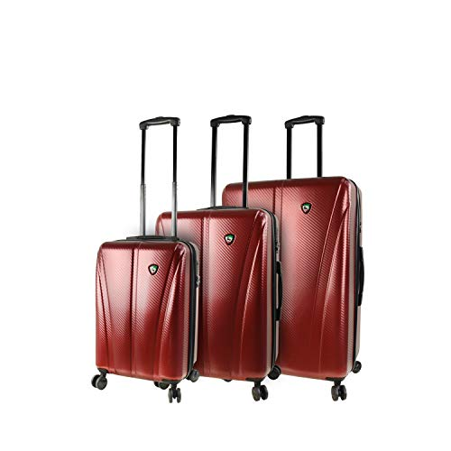 Sale!! Mia Toro Italy Usini Hardside Spinner Luggage 3pc Set, Burgundy, One Size