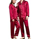 LYLSXY Pijamas, Pareja Seda Slimwear Manga Larga 2 Pieza Conjunto Pijamas Finas Rojas,Xl de Los Hombres,Xl de Los Hombres