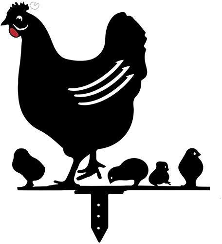 DGTJSHIBA Chicken Yard Art Garden Metal Statue Decor, Rooster Animal Silhouette Stake for Yards, Decorative Garden Stakes Rooster Art for Lawn, Pathway, Sidewalk, Garden, Easter Decoration E