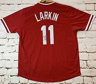 barry larkin autographed jersey