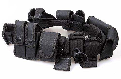 ATAIRSOFT Droit Enforcement Combat Multifonctions Police Garde Sécurité Ceinture Équipement Système avec 9 Fonctionnel Pochettes Noir pour Chasse Tactique Airsoft Militaire Armée Extérieur